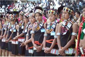 Nagaland girls in traditional dress